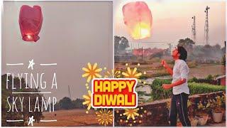 Flying An Sky Lamp  Sky Lantern  Hot Air Ballon - Diwali Special  Overtime  #shorts