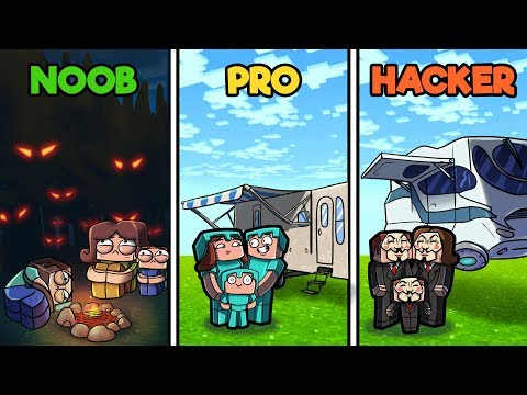 Minecraft - FAMILY CAMPING TRIP! (NOOB vs PRO vs HACKER)