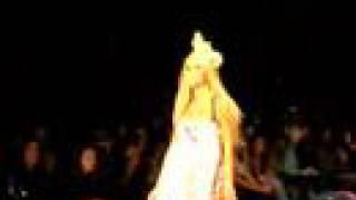 Aubrey O'Day walking in Heatherette Fashion Show
