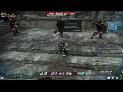 """Vindictus gameplay """"Hunter at the ruins"""" Hard mode- playing Lann utilizing dual swords"""