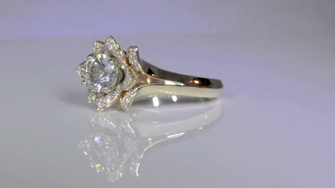 flower ring rings wedding engagement halo diamond with lotus