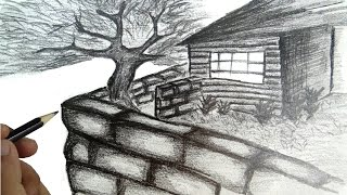 How to draw a scenery house with narration.