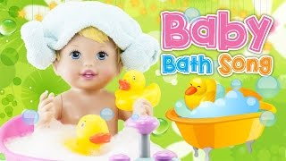 New Baby Bath Song ♥Toy Nursery Rhyme♥ How to Bath Baby Doll Playset Kids Songs Original Baby Song