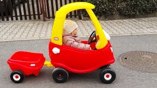 OUTDOOR ACTIVITY - Little Tikes Cozy COUPE little girl Elis & Playground Family Fun