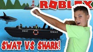 SWAT TEAM VS SHARK! ROBLOX SHARKBITE