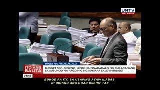 DBM Sec. Diokno, hindi na pinadadalo ng Malacañang sa susunod na pagdinig ng Kamara
