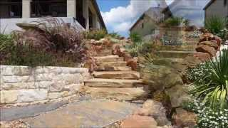 Hillside Patio, Water Feature, Landscape, And Custom Boulder Stairs