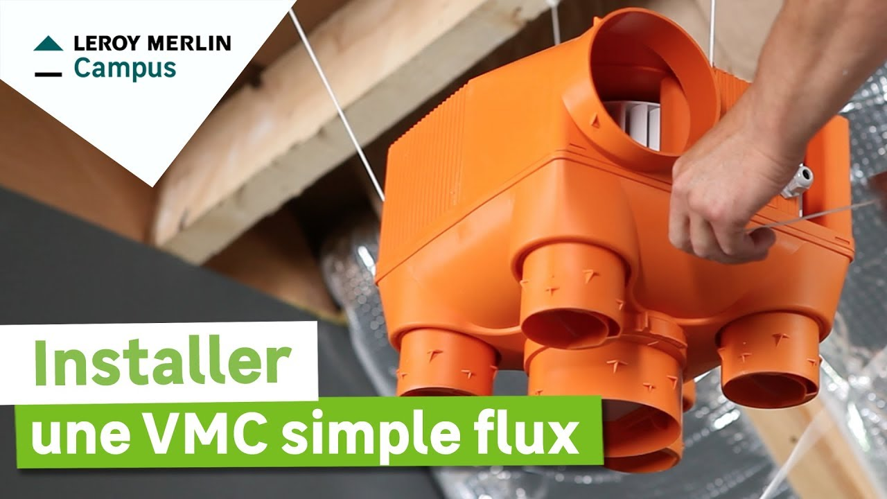 Comment installer une vmc simple flux leroy merlin youtube for Ventilateur salle de bain sans sortie