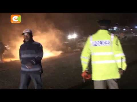 40 dead after a light truck bursts into flames in Naivasha