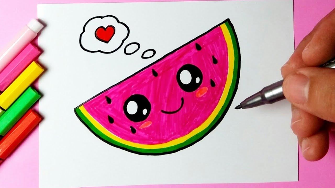 Como Desenhar Melancia Fofa E Bonita Kawaii Desenhos Bonitos
