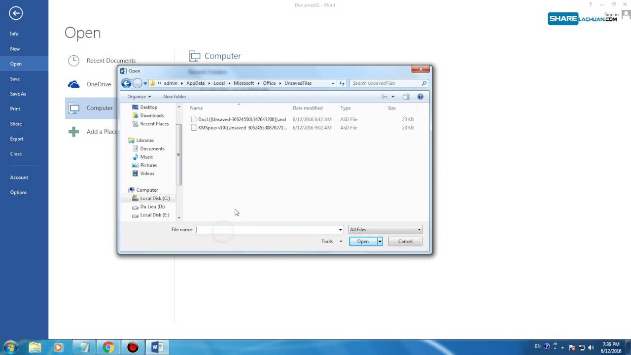 Hướng dẫn khôi phục file Word,Excel,PowerPoint bị mất do máy tắt đột ngột