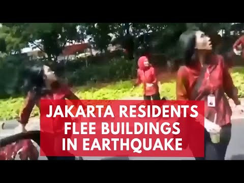 Jakarta residents flee high-rise buildings during earthquake