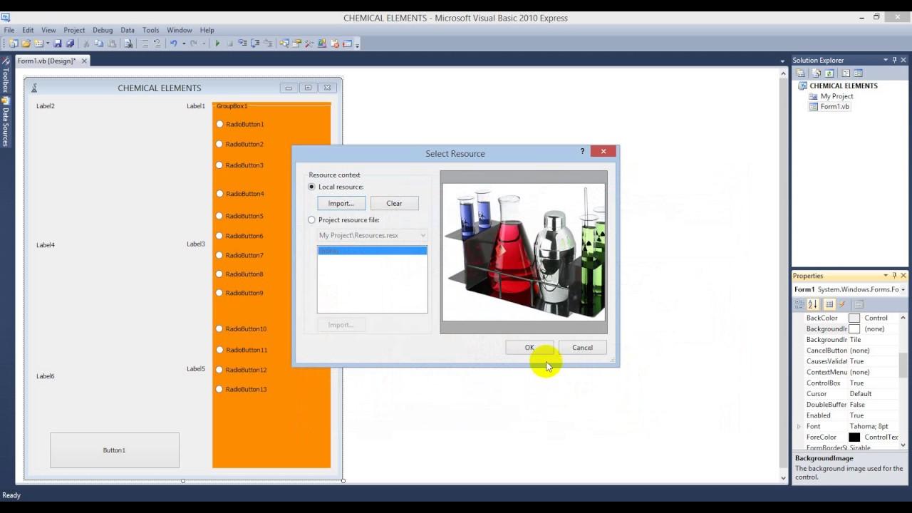 شرح كيفية عمل متسلسلة النشاط الكيميائي على برنامج فيجوال بيسك 2010