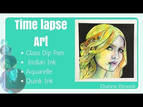 Pen and Ink Time Lapse, Glass Dip Pen, Indian Ink, Aquarelle Watercolour pencils Speed Art