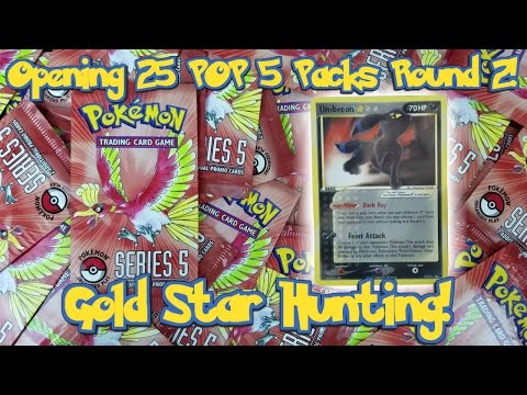 Opening 25 MORE Pokemon POP Series 5 Packs! Gold Star Hunting! My Best Pokemon Card Opening Ever!