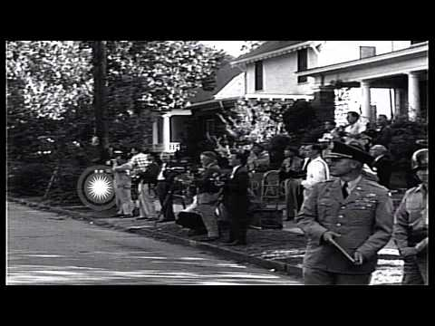 Major General Edwin Walker and others amidst Press photographers and Journalists ...HD Stock Footage
