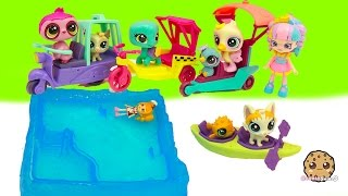 Littlest Pet Shop Show Shopkins Shoppies Their LPS City Rides + Water Canoe Boat - Full Set of 4