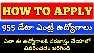 How to apply 955 D.E.O jobs in andhrapradesh|955 Data Entry Operator jobs in Andhrapradesh|Madhujobs