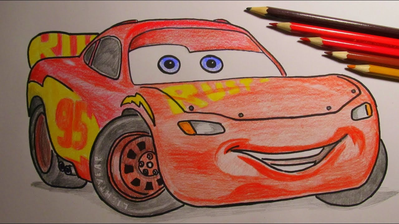 How To Draw and Color Lightning McQueen Rust-eze Racing ...