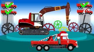 Construction Vehicles For Kids | Excavator Santa Claus | Maszyny Budowlane dla Dzieci Koparka