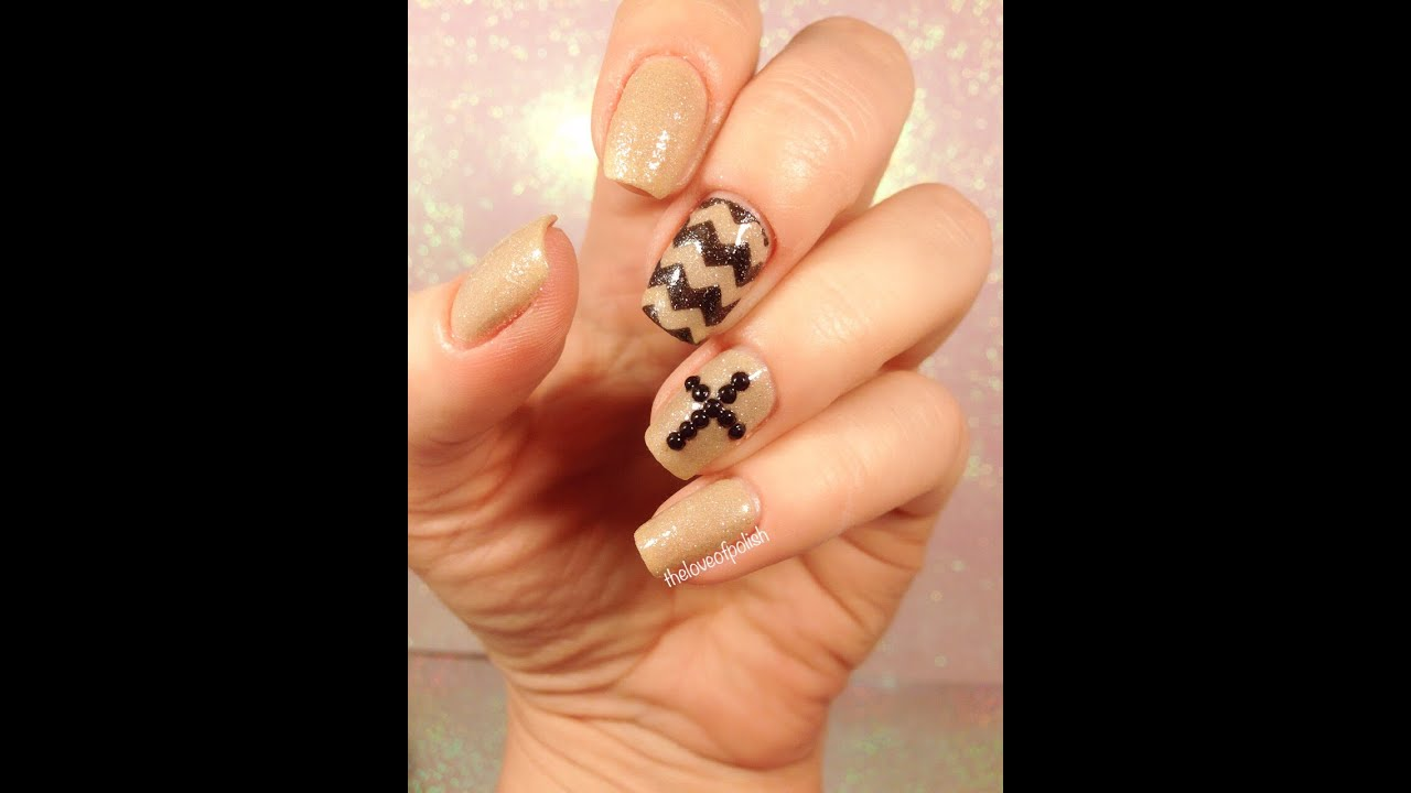Rhinestone Cross And Chevron Easter Themed Nails