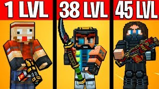 1 LVL vs 38 LEVEL vs 45 LEVEL [Pixel Gun 3D Edition] 15.99.0
