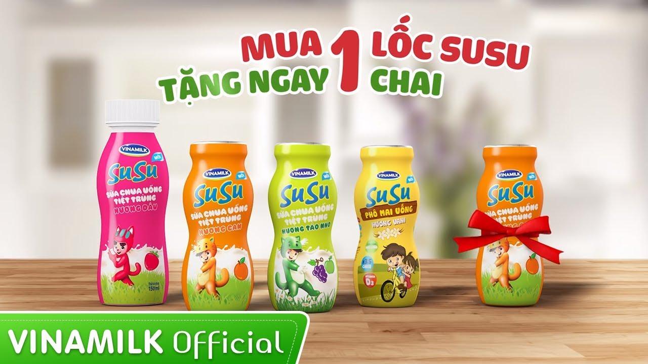 Quảng cáo Phô mai uống SuSu – Khuyến mãi cực hấp dẫn cho bé – Mua 1 lốc SuSu, tặng ngay 1 chai