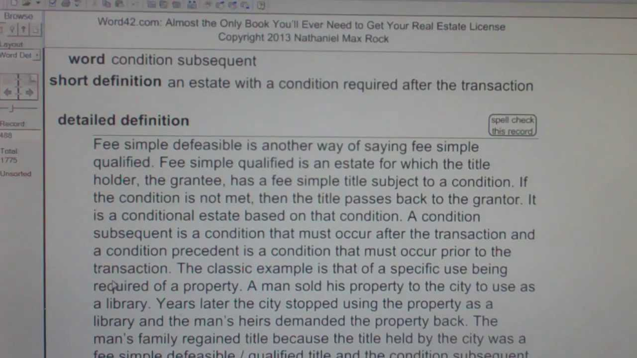 condition subsequent ca real estate license exam top pass words