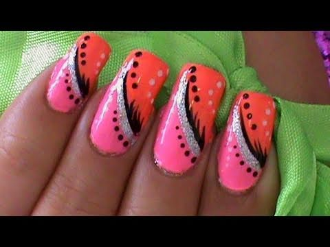 Pink Orange Abstract Nail Art Design Tutorial Youtube