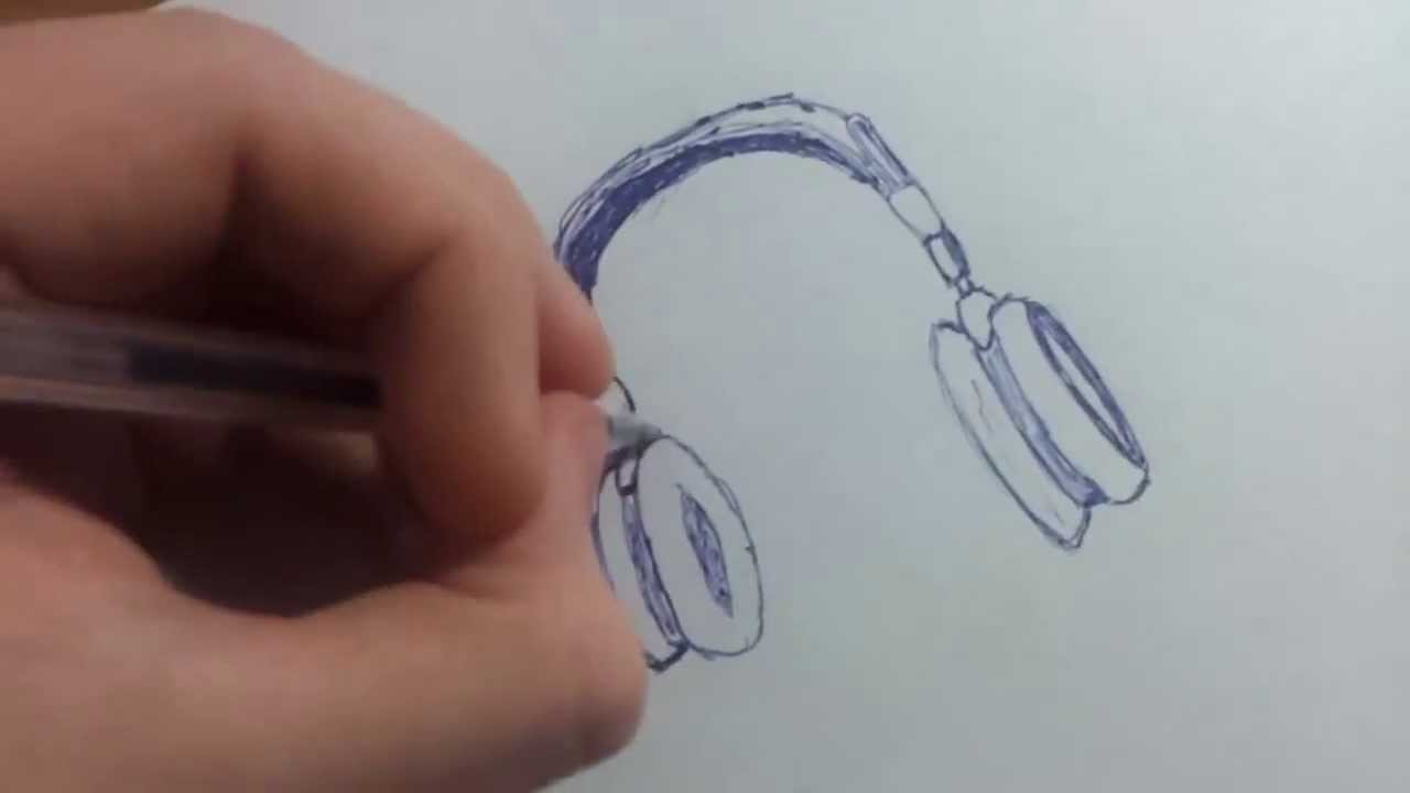 Como Dibujar Cascos De Musica Youtube