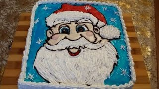 Новогодний торт ДЕД МОРОЗ Торт -раскраска Cake decoration Украшение торта