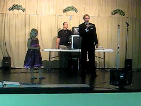 Chris singing on stage......karaoke reception