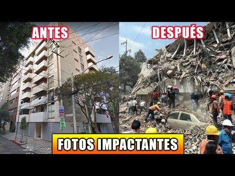 EDIFICIOS ANTES Y DESPUÉS DEL TERREMOTO 7.1 MÉXICO 19 SEPTIEMBRE