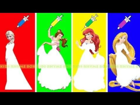 LEARN COLORS Disney Princess Elsa Beauty Ariel Rapunzel with wrong colored dress Baby Finger Song