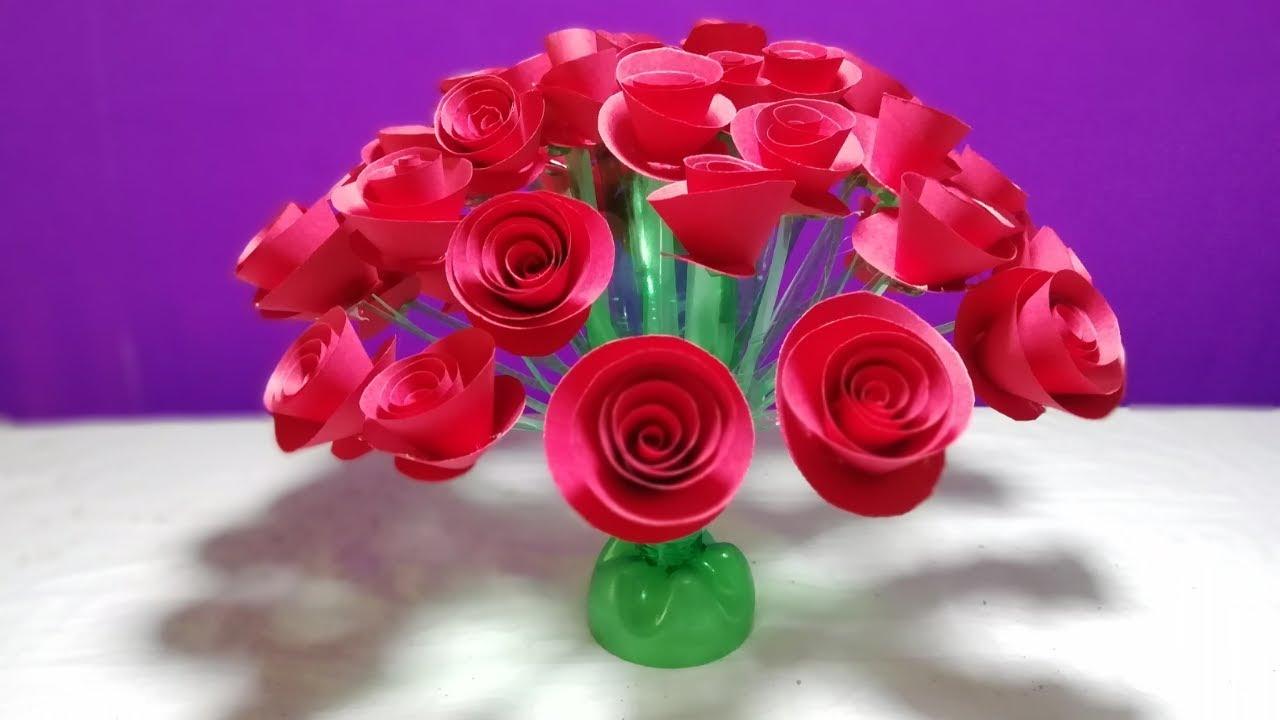 How To Make Beautiful Rose Flower From Plastic Bottle Beautiful Guldasta New Design Goldasta Youtube