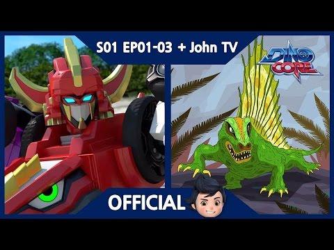 [DinoCore] Season 1 & John TV | Dino Master, Rex is the son of Fabro's Pizza | Dimetrodon | EP01-03