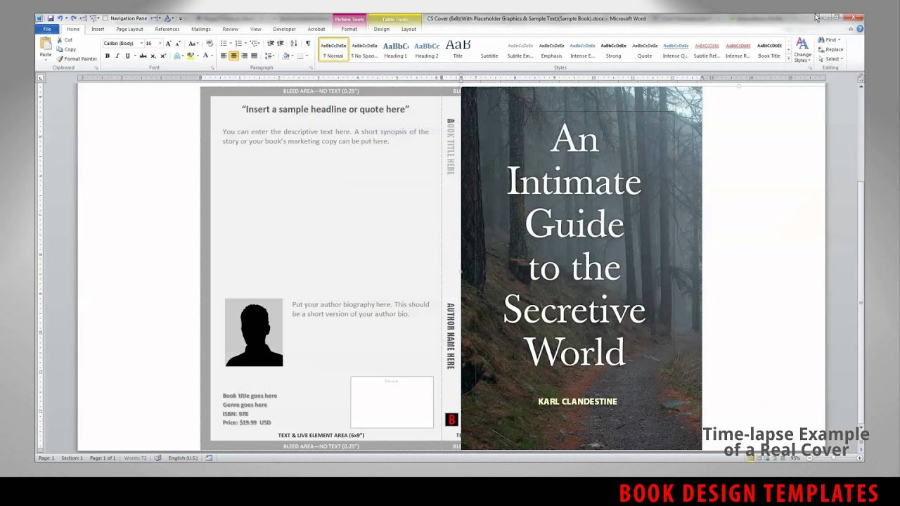 print book cover template for word preview youtube