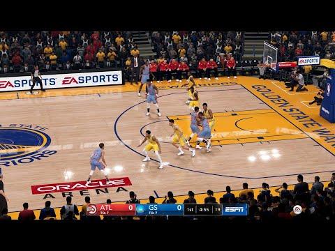 NBA LIVE 19 - Atlanta Hawks vs Golden State Warriors - CPU SIM Full Game - PS4 PRO - HD