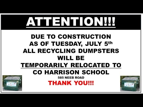 NOTICE of Recycling Bins TEMPORARY MOVE