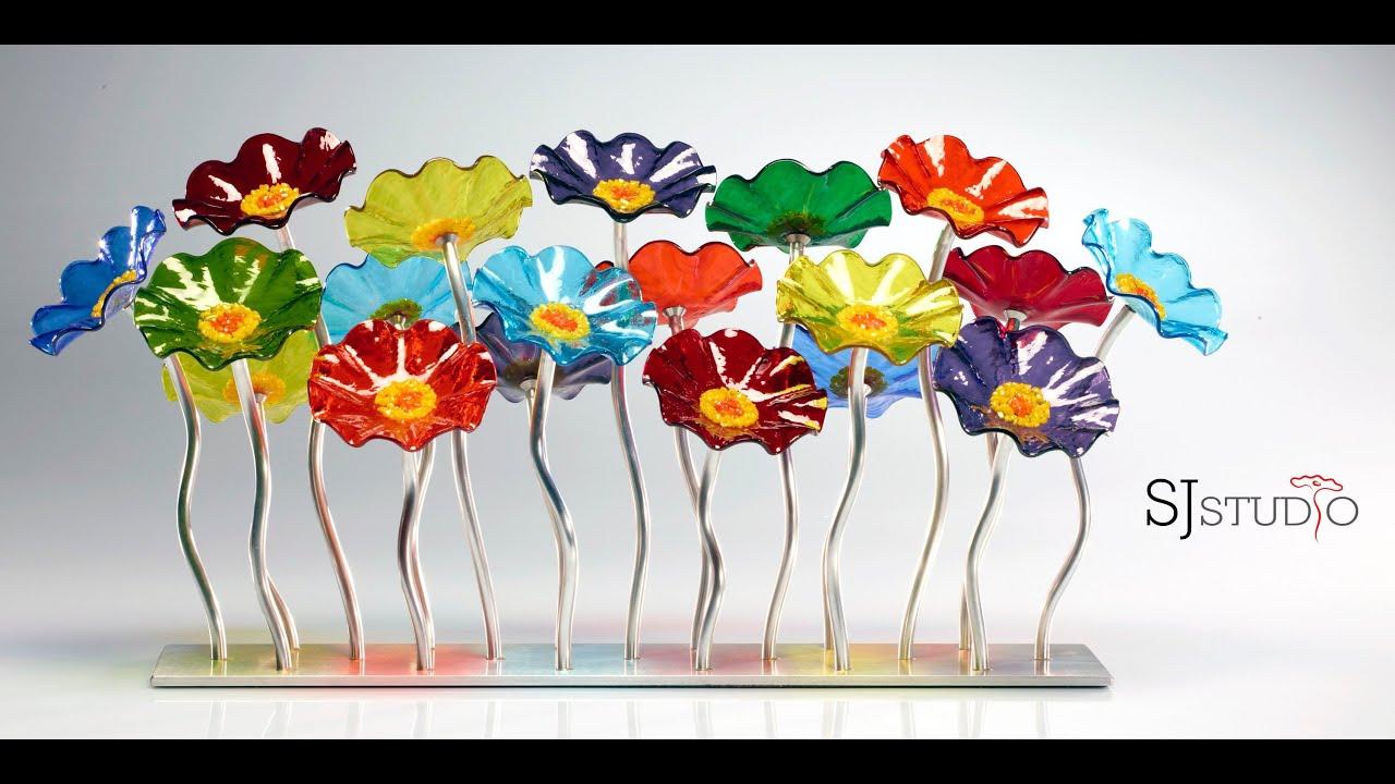 Blown Glass Flowers For Garden