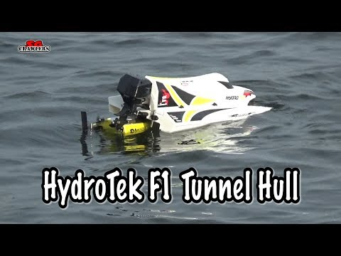 RC F1 Boat Hydrotek tunnel hull racing boat at the reservoir