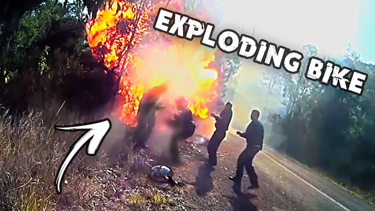 Bikers are too CLOSE to a BURNING bike   Epic and Crazy Motorcycle Moments