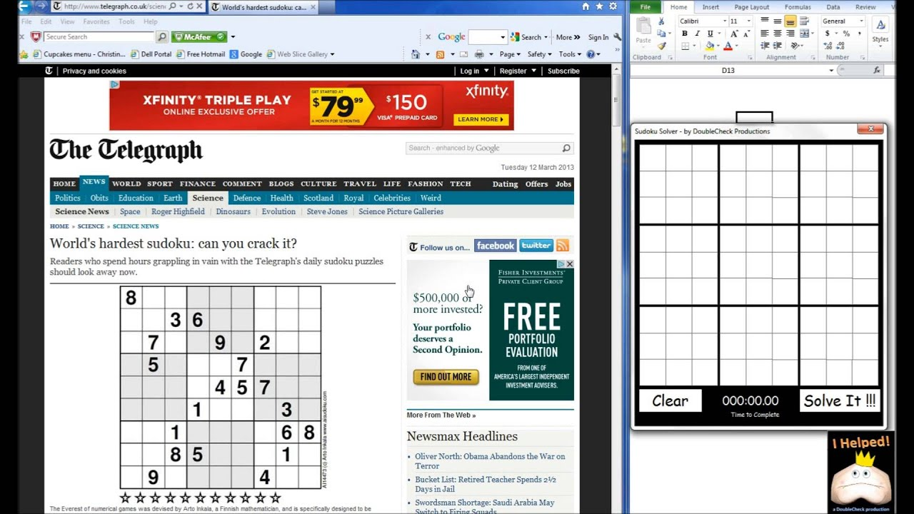excel sudoku solver youtube