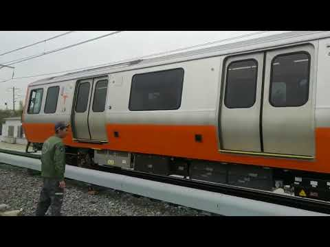 New Orange Line MBTA train car test driven in China