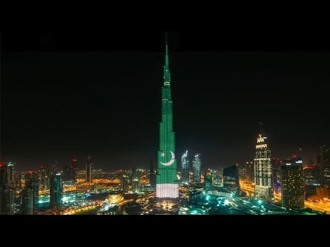Pakistan Day BurjKhalifa celebrate Pakistan's 77th Republic Day lights up with the National Flag