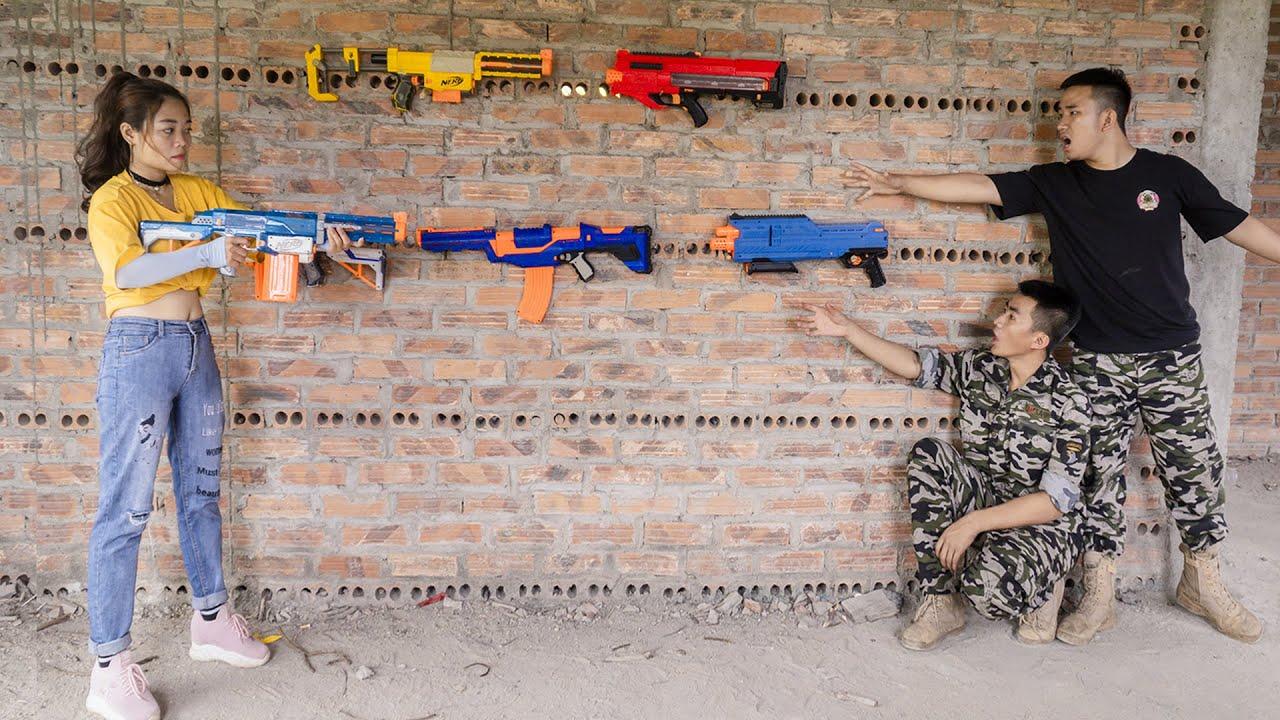 JE Nerf War: Squad SEAL X Warrior Girl Competition Nerf Guns Fight Criminal Food Robber