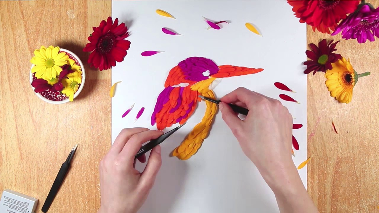 Kingfisher - Flower Art Made Out Of Fresh Petals
