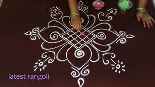 latest rangoli pattern design without dots || easy & simple rangoli designs
