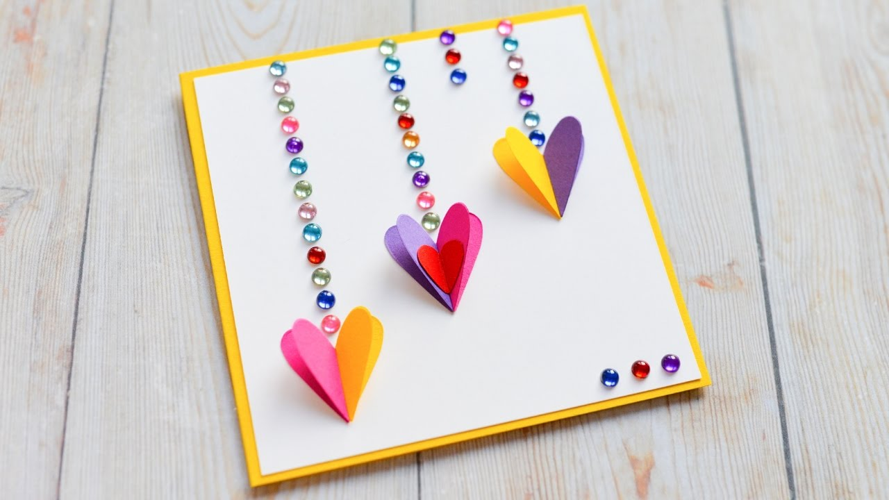 how to make  greeting card valentine's day hearts  step