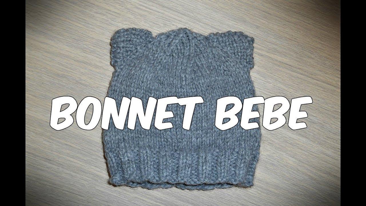 Tuto   Tricoter un bonnet bebe naissance facilement aux oreilles de chat 633c41e2daa